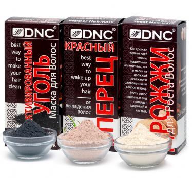 DNC Набор масок для ухода за волосами: Уголь, Дрожжи, Красный перец (3х100г)