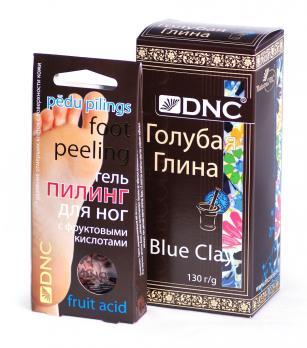 DNC Пилинг для ног с фруктовыми кислотами, 2*20 мл.; Глина голубая 130 г