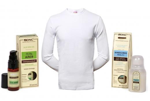 Набор: Футболка + DNC Кокосовое масло для волос, лица и тела, 60 мл + Гель гиалуроновый Алоэ, 20 мл